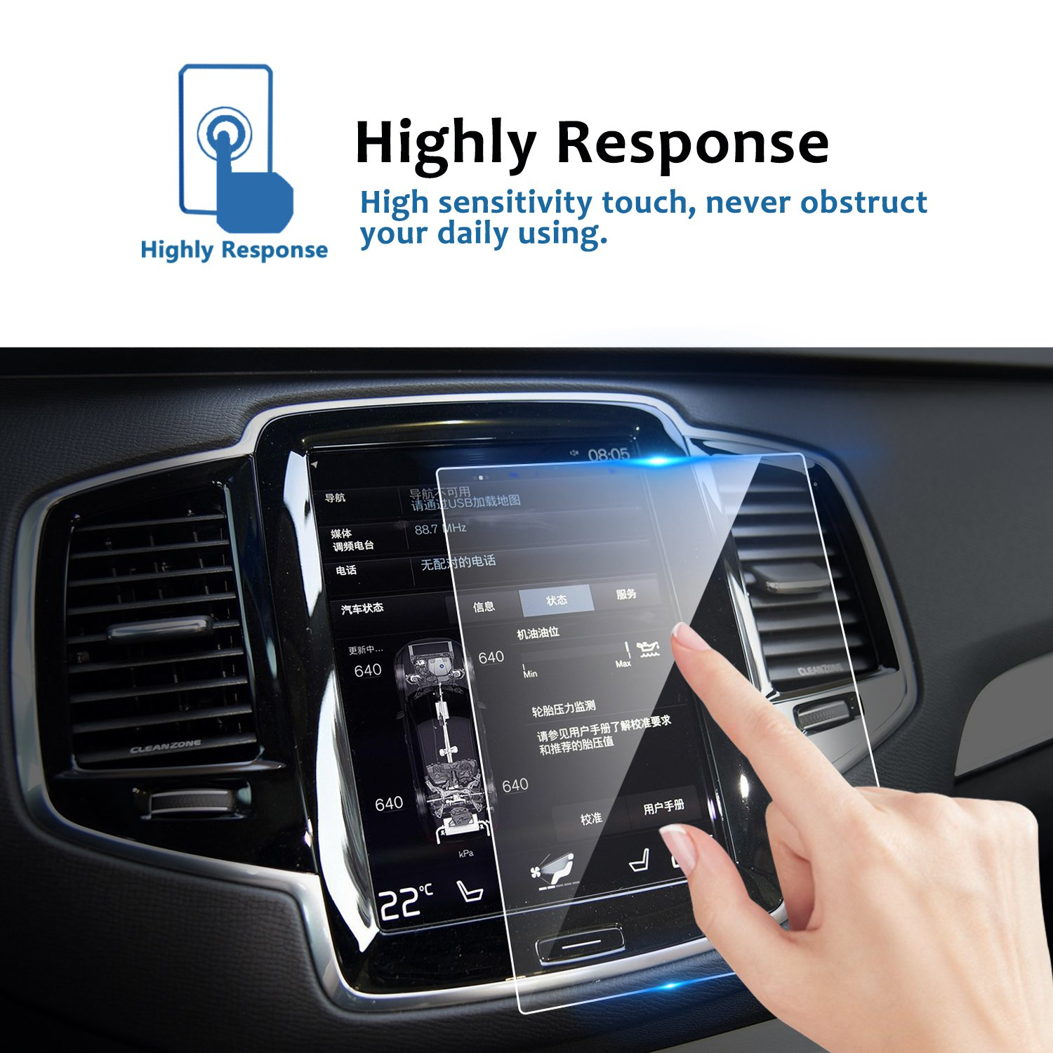 LFOTPP Volvo V90 XC90 S90 Sensus 8.7 Inch Car Navigation Screen Protector,[9H] Tempered Glass Infotainment Screen Center Touch Screen Protector Anti Scratch High Clarity by LFOTPP (Image #3)