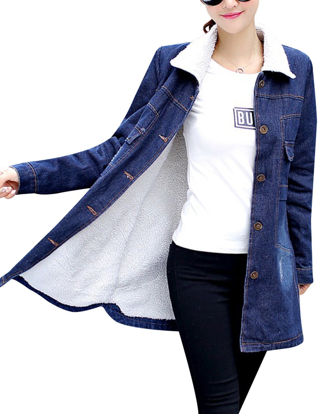 Tanming Women's Warm Sherpa Lined Long Denim Jean Jacket Outerwear (Blue White, X-Large)