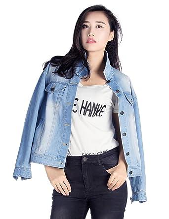 Womens Fashion Denim Jacket Juniors Loose Casual Boyfriend Style