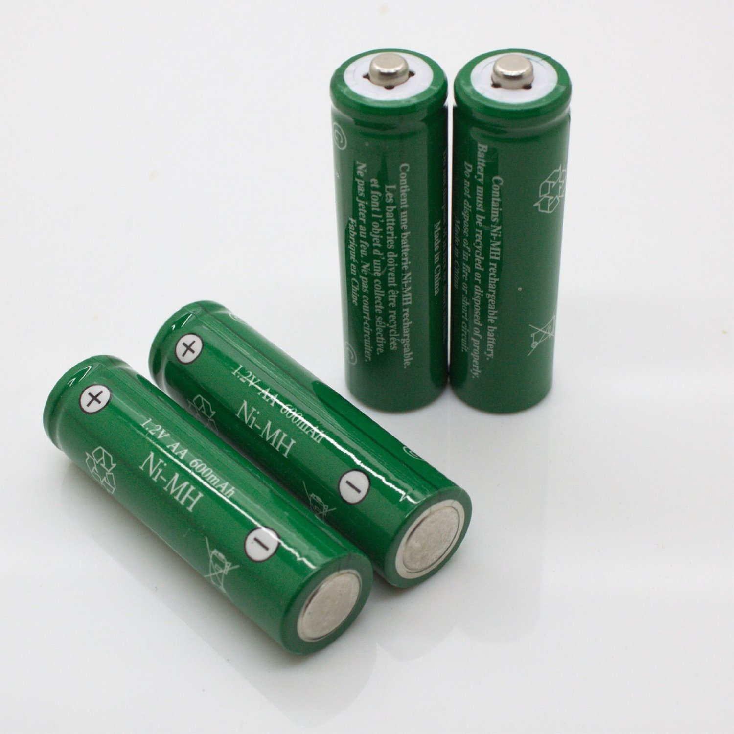 AA Ni-MH 600mAh Rechargable Batteries for Solar Powered Units (12-Pack)