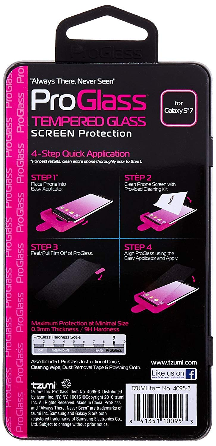 Tzumi ProGlass for Samsung Galaxy S7 - Premium Tempered Glass Screen Protector with Easy Application and Cleaning Kit by Dollarstore Promo (Image #4)