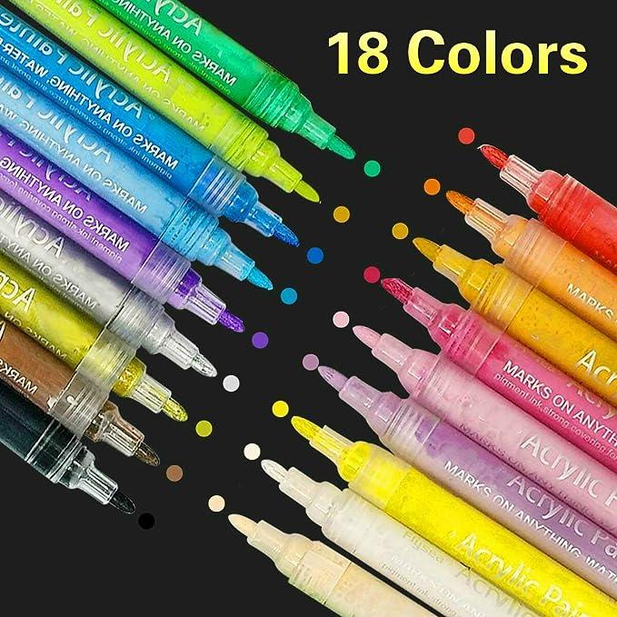 SUPERSUN 18 Farben Holz Stifte Wasserfest, Acrylstifte Wasserfest Acryl Farben Set Acrylstifte für Leinwand, Steine Bemalen,