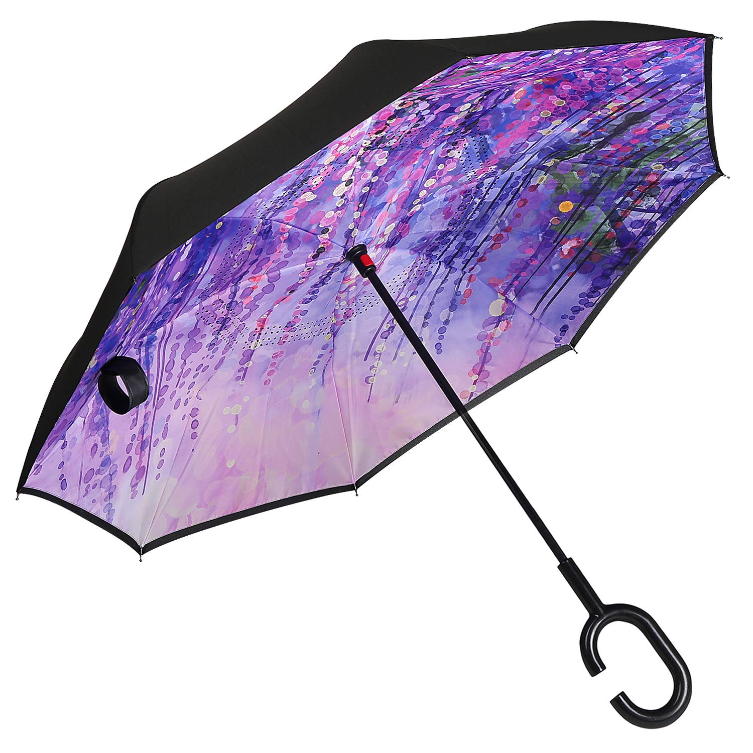 Owen Kyne Windproof Double Layer Folding Inverted Umbrella, Self Stand Upside-Down Rain Protection Car Reverse Umbrellas with C-Shaped Handle (New Wisteria Tree) by Owen Kyne