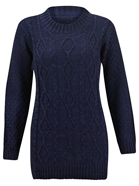 38c80d818ab (M) WOMENS LONG SLEEVE CHUNKY DIAMOND CABLE KNITTED LADIES JUMPER SWEATER  KNIT TOP | NAVY - Chunky cable knit LONG jumper | SM 8/10