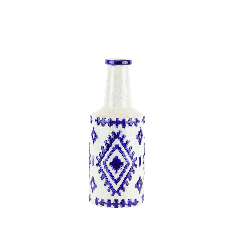 Benzara BM188084 Bottle Shape Decorative Ceramic Vase with Tribal Pattern Design White and Blue