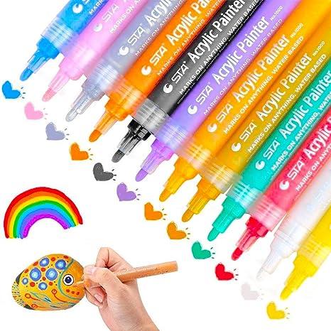 MMTX Acrylstifte Marker Stifte für Holz Wasserfest, 12 Farben Permaft Folienstift Farbnent Marker Set Art für Steine,Bemalen,