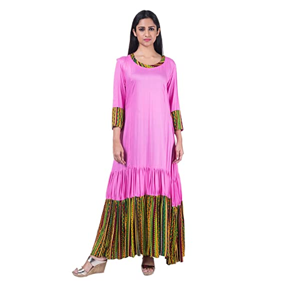 Mamosa Pink and Printed Rayon 3/4th Sleeve gown for latest design ...