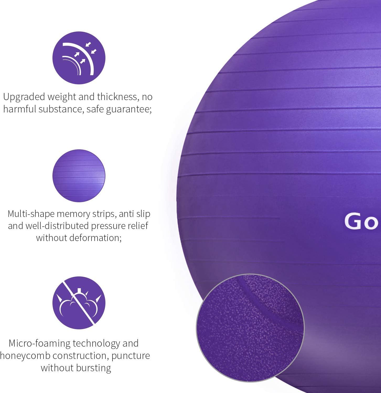 Gonex Gymnastikball 65cm Pilates Ball Robuster 998kg Maximalbelastbarkeit Dicker Anti-Burst /Übungsball Sitzball Fitnessball Yoga Ball mit Pumpe Fitnessger/äte f/ür Zuhause B/üro Sport Lila