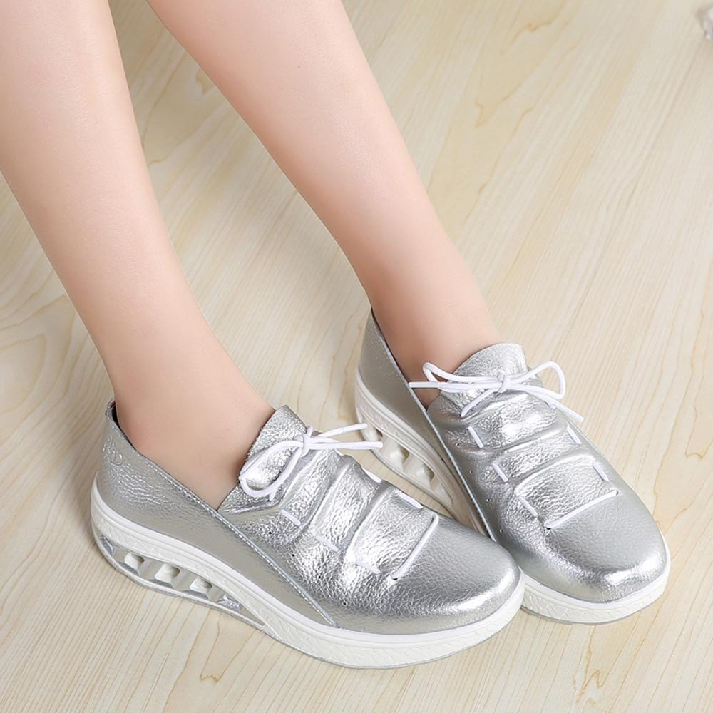Clearance Sale Shoes For Women,Farjing Fashion Women Air Cushion Round Head Breathable Leisure Sports Shoes Shake Shoes(US:6.5,Silver)