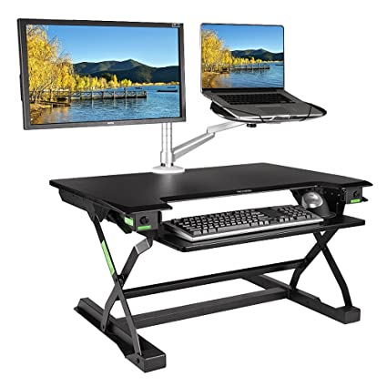 Incredible Minicute Height Adjustable Standing Computer Desk Ergonomic Fits Dual Monitor Spring Riser 32 Workstation Dual Monitor Desktop Lifter Sit To Stand Up Download Free Architecture Designs Scobabritishbridgeorg