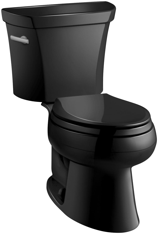 Kohler K-3998-7 Wellworth Elongated 1.28 gpf Toilet, Black Black ...