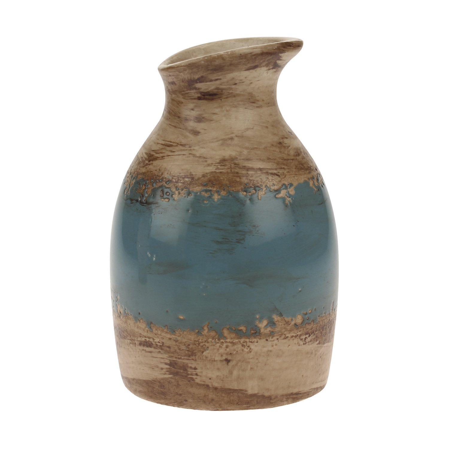 Stonebriar Decorative Brown and Denim Blue Ceramic Vase, For Floral Arrangements and Dried Flower Filler, Centerpiece for Coffee, Kitchen, and Dining Room Table