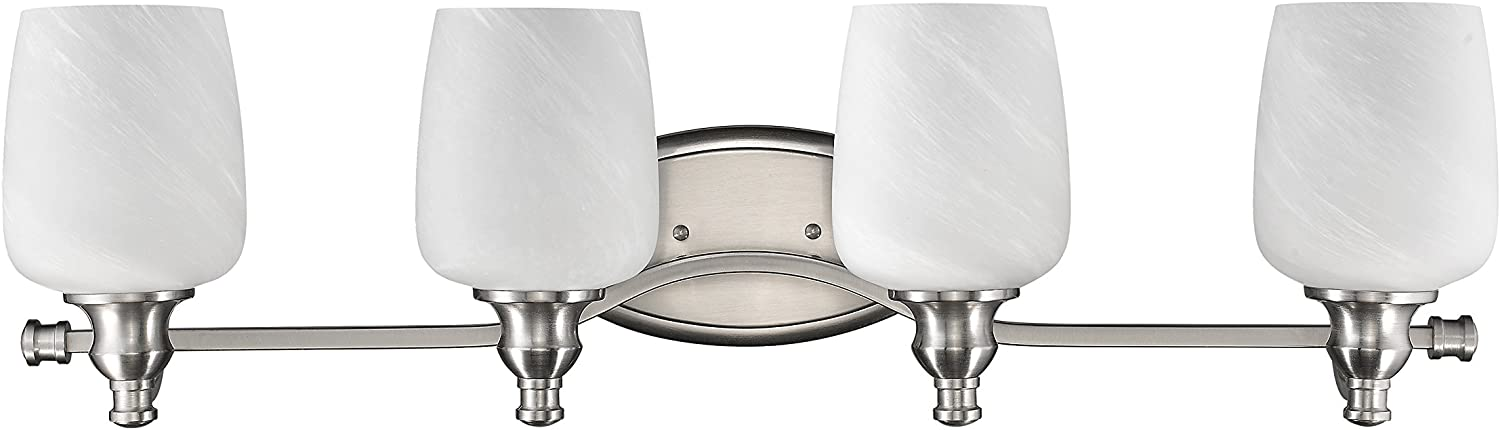 Chloe Lighting CH0190-BN-BL4 Transitional 4-Light Brushed Nickel Bath Vanity Wall Fixture with 31-Inch Wide Alabaster Glass