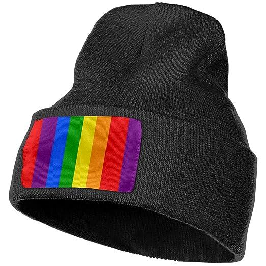 Women   Men Funny Rainbow Stripes Winter Warm Beanie Hats Stretch ... cf49148a1af