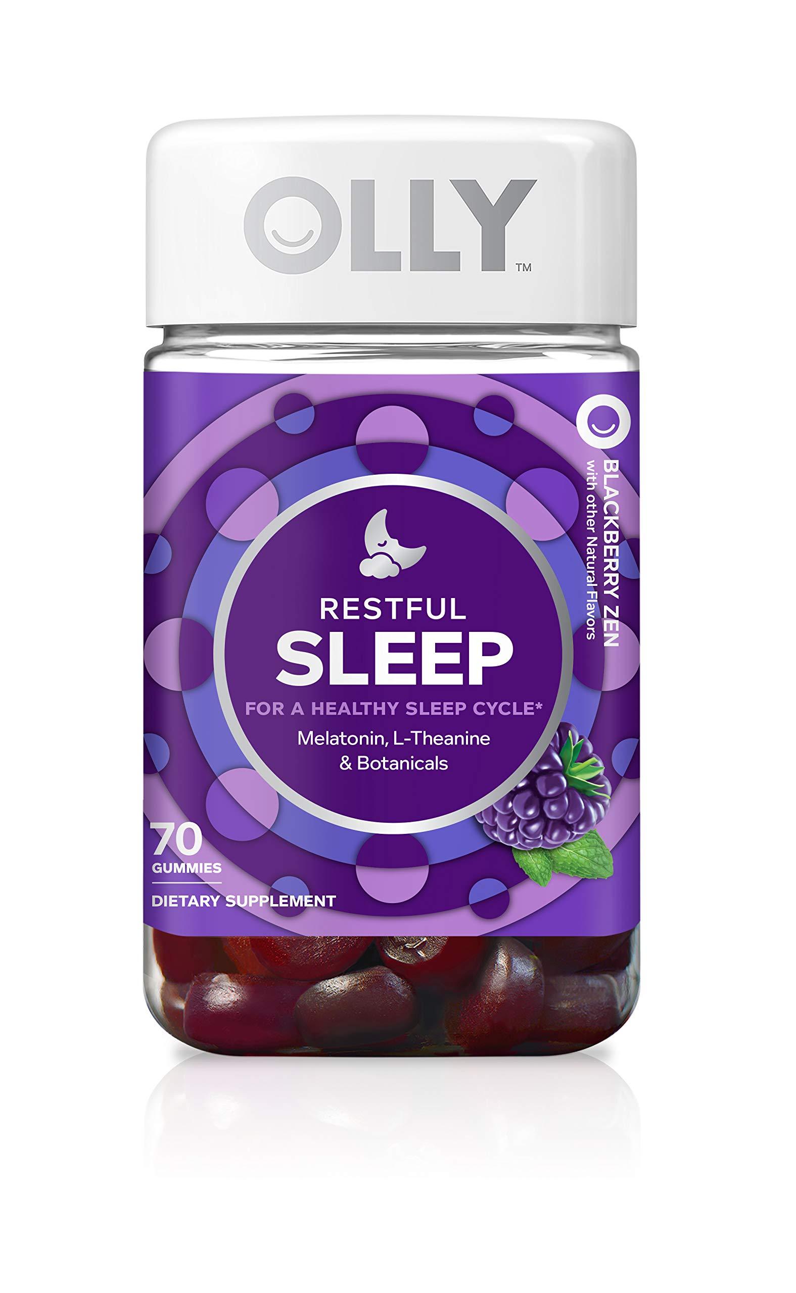 OLLY Restful Sleep Melatonin Gummy, 35 Day Supply (70 Gummies), BlackBerry Zen, L Theanine, Chamomile, Lemon Balm, Chewable Supplement by Olly (Image #1)