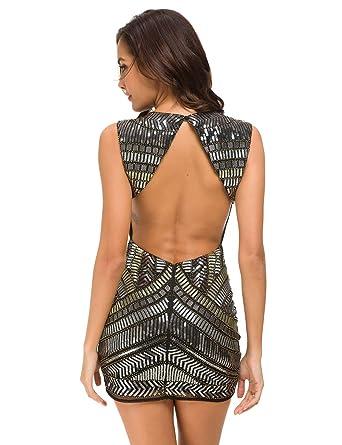 680ee25de0c VIVIMI Women Sparkling Sequin Evening Sexy V Neck Night Club Slim  Sleeveless Mini Party Dress (