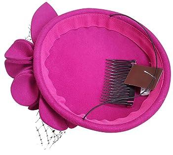 Womens Socialite Flower Black Pearl Wool Felt Fascinator Pillbox Tilt Hat A044