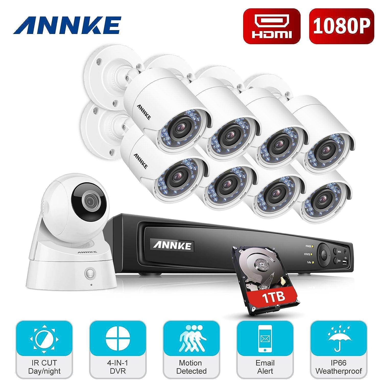 ANNKE Kits de 8 cámaras TVI de vigilancia y una IP cámara inalámbrica adicional(Onvif H.264 8CH DVR TVI 1080P con 8 cámaras bala y una IP cámara 1080P ...