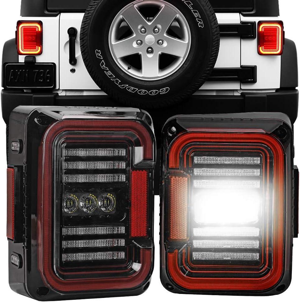 SPL Ultimate LED Tail Light /& Brake Light /& Ultimate Reverse Lights EMC Build-in Rear Light Back Up Lights Daytime Running Lamps Replacement for Jeep Wrangler JK//JKU 2007-2017(Clear Vertion