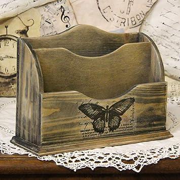 Briefständer aus Holz Unikat Briefhalter Büro Schreibtischorganizer Briefablage
