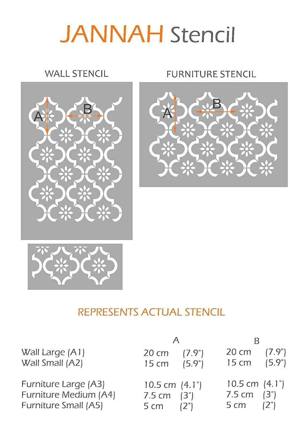 Wall Large Jannah Furniture Wall Floor Stencil for Painting