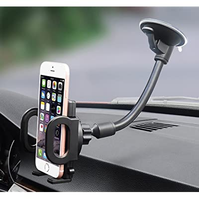 Car Mount, Hana Windshield Flexible Long Arm Car Phone Mount with One Button Design and Three Side Grips Compatible iPhone Xs MAX XS XR X 8 7 7P 6s Galaxy S10 S9 S8 Edge S7 S6 S5 Google LG Sony