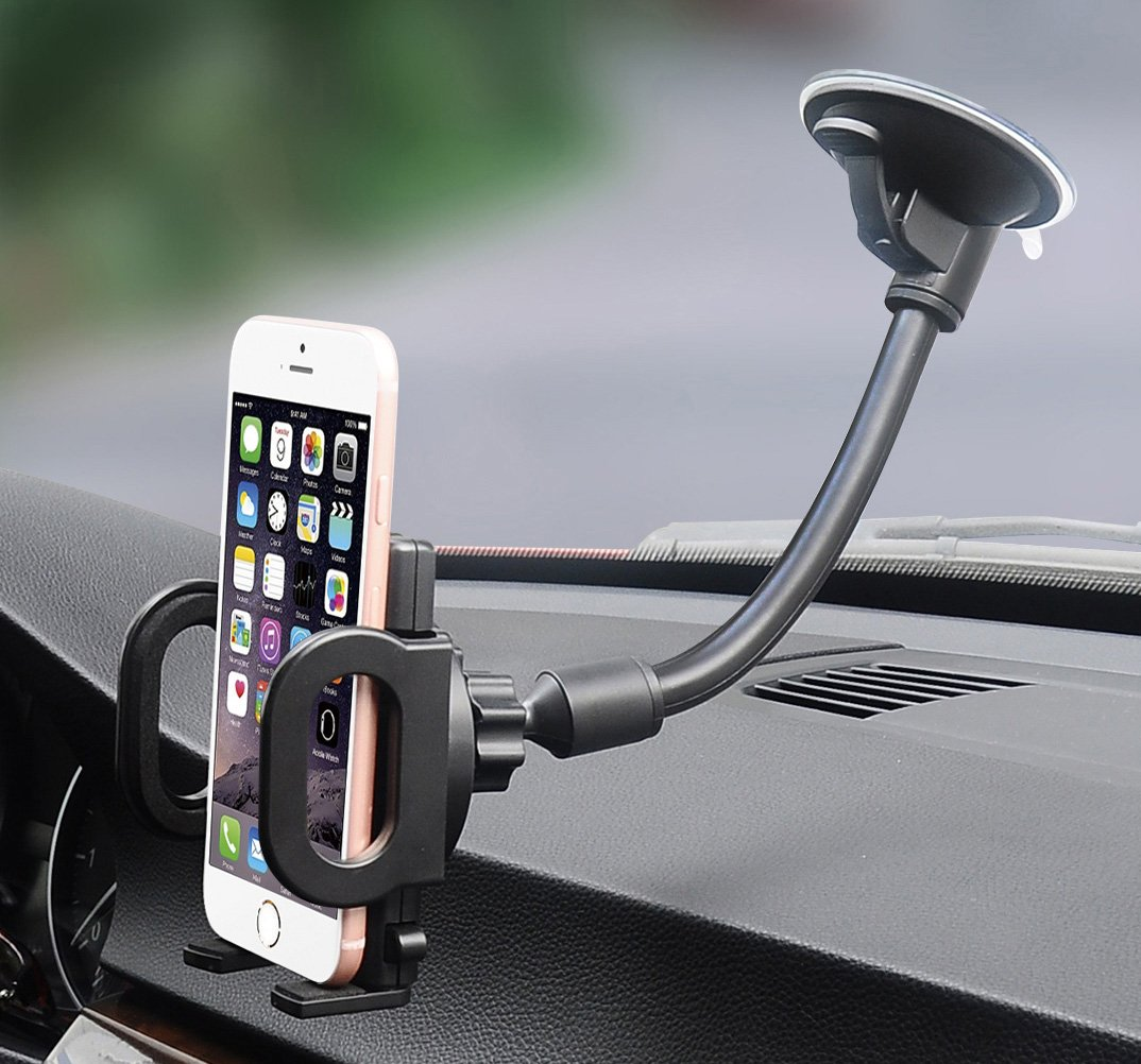 Car Mount, X-AUTO One Touch Flexible Arm Universal Windshield Cell Phone Holder with Strong Suction Cup and Three Side Grips for Cell Phone iPhone Smartphones Android GPS Devices and More