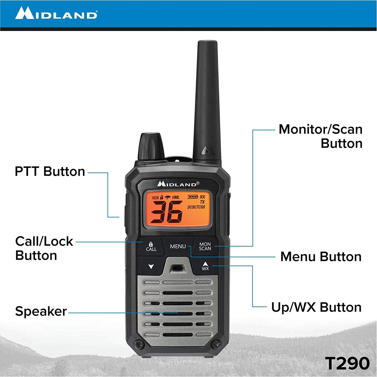 Midland 36 Channel GMRS Two-Way Radio Pair Pack 121 Privacy Codes X-TALKER T295VP4 Mossy Oak Camo Extended Range Walkie Talkie NOAA Weather Scan Alert