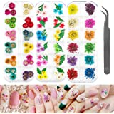 LIMGLIM 120pcs Nail Dried Flowers 3D Nail Art Supplies Stickers Decoration Tips Manicure Decor Mixed Accessories for Nail Art