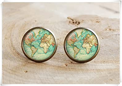 Amazon old map stud earrings world map earrings antique old map stud earrings world map earringsantique travel earrings map earrings gumiabroncs Gallery