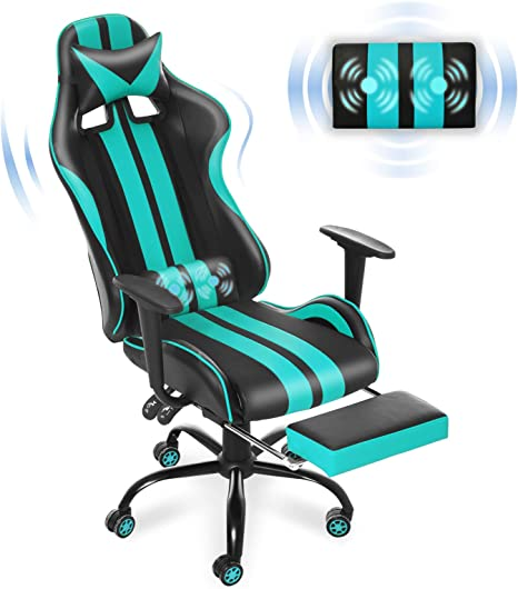 Amazon Com Massage Racing Style Pc Computer Chair Computer Gaming Chair E Sports Chair Ergonomic Office Chair With Height Adjustment Retractable Footrest Headrest And Lumbar Support Aqua Blue Kitchen Dining