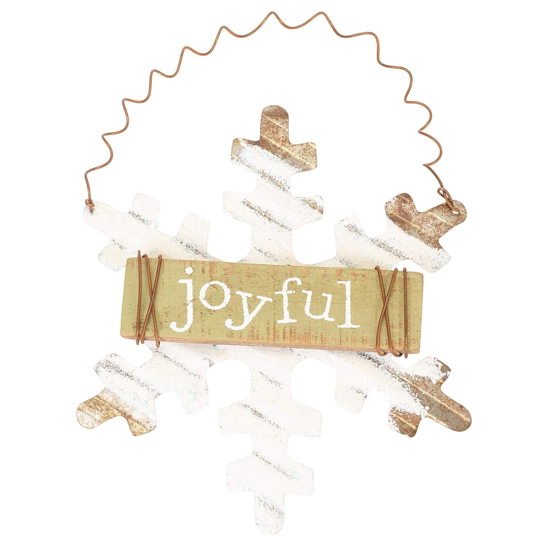 Honey and Me Joyful Snowflake 6 x 6 Wood Christmas Ornament Figurine
