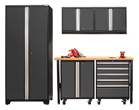 NewAge Products 52148 Pro 3.0 Series Mobile Cabinet Set (6 Piece), Gray