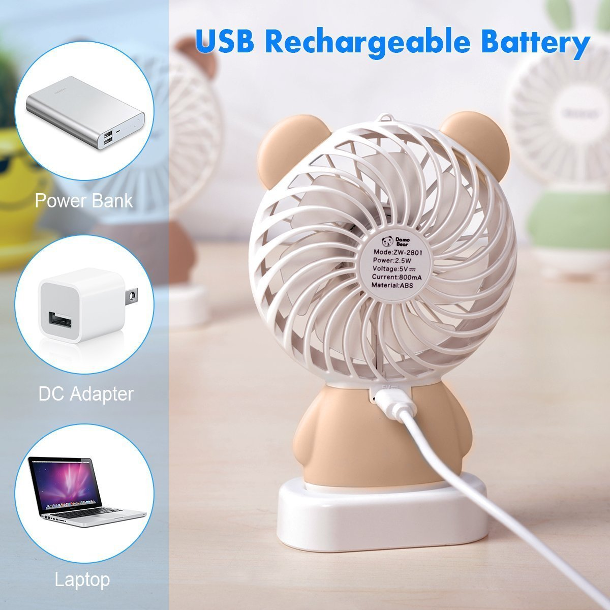 TechCode Handheld Electric Fans, Cute USB Charger Noiseless Fans 2 Speed Adjustable Rechargeable Handhold Portable Personal Fans Creative Cooling Mini Fan with Colorful Led Night Light (Brown) by TechCode (Image #1)