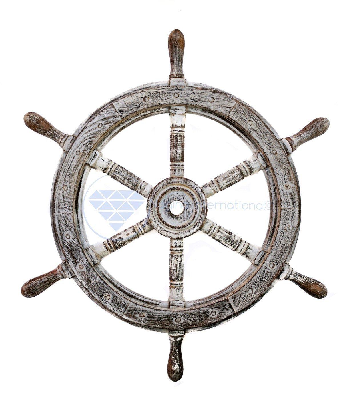 Nagina International(ナジャイナインターナショナル) Nautical高級ハンドクラフト木製操舵輪 | 海賊風家庭壁装飾&ギフト |42 Inches NWH008ABL B01FVSRZR6アンティーク ブラック 42 Inches