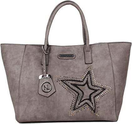 Glitter Star Patch Boston Bag by Nicole Lee with Detachable Sholder Strap