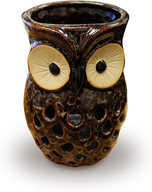 Ceramic Brown Owl Tealight Candle Holder