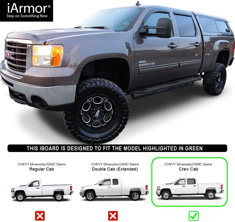 """iArmor 6.5/"""" Nerf Bars Square Tube Fit 01-07 Chevy Silverado//GMC Sierra Crew Cab"""