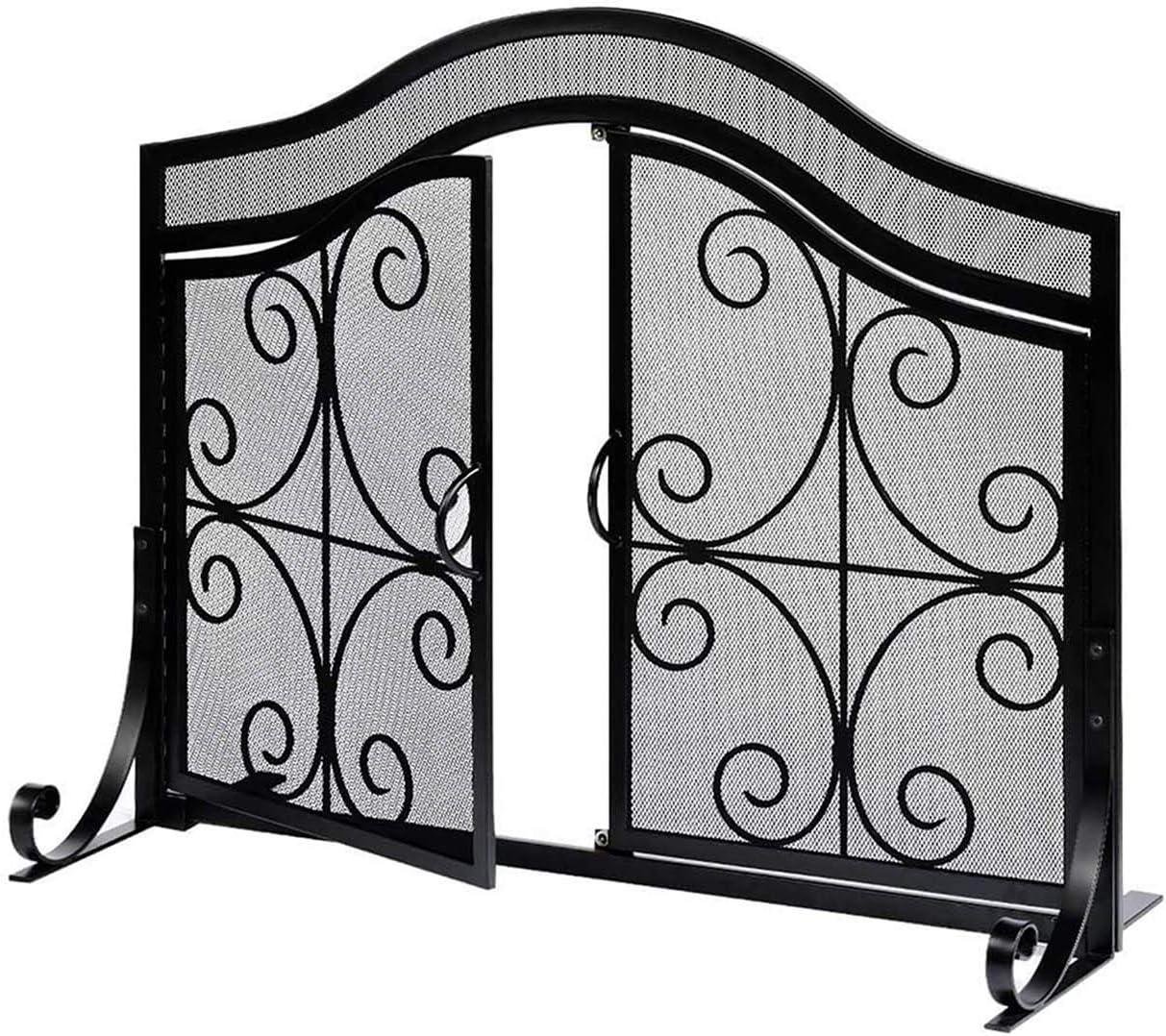 LYBC Salvachispas Simple,Pantalla De Chimenea Ornamental De Un Solo Panel,contra Chispas Reja,Hierro Forjado,2 Puertas,Negra