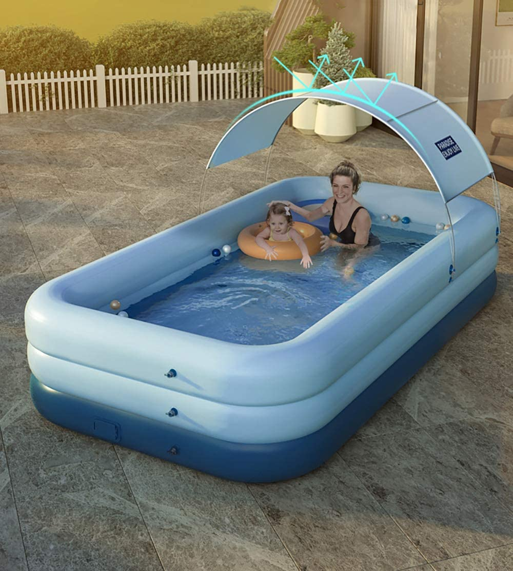 Inflatable Swimming Pool for Kids and Adults 8ft x 5ft, Blue Blow Up Backyard//Outdoor Water Pool Family Rectangular Above Ground Pool