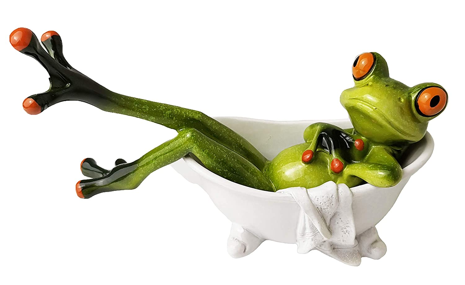 HAPTIME 5.3 inch Adorable Red Eyed Tree Frog Lying in The Bathtub, Funny Decor Figurine for Home Desk Bathroom Decoration (Style B)
