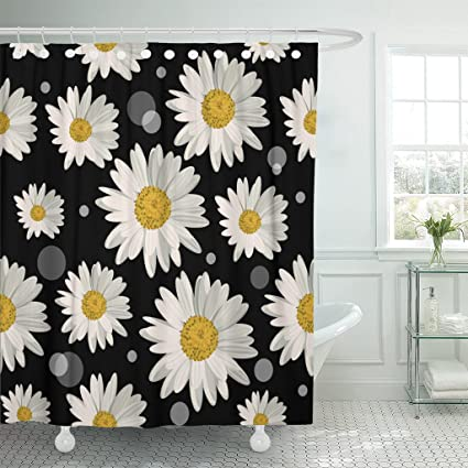 Image Unavailable Not Available For Color TOMPOP Shower Curtain Yellow Daisy White