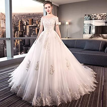 8560899e8f4c89 YT-ER Fantasy Princess Court Retro Style Wedding Dress Large Size White One  Shoulder Long