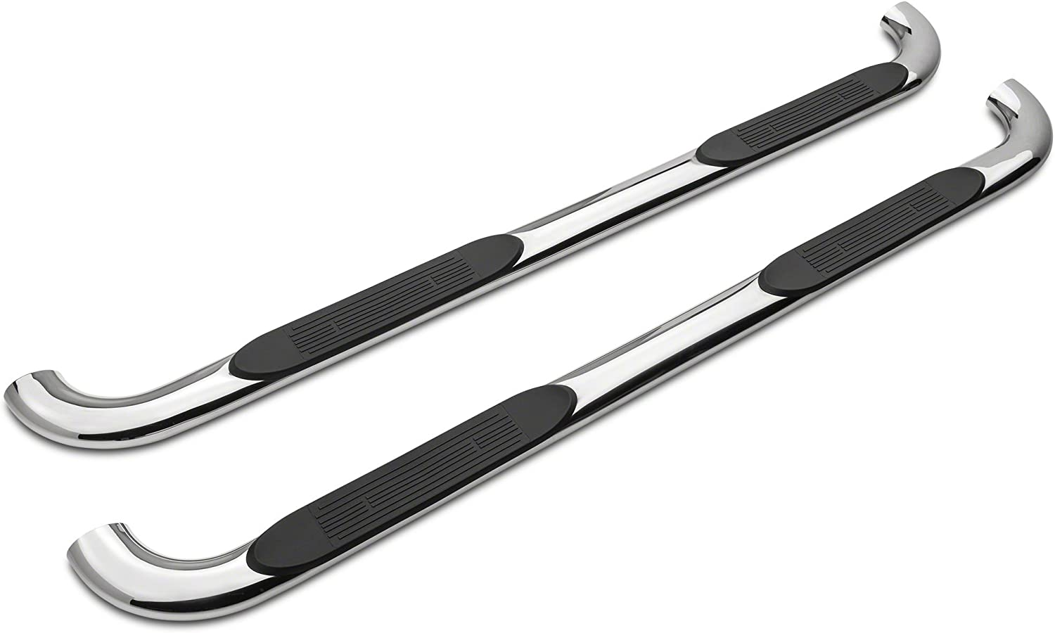 Ford F-150 SuperCrew 2015-2019 Stainless Steel Barricade 4 in Oval 90 Degree Bent End Side Step Bars
