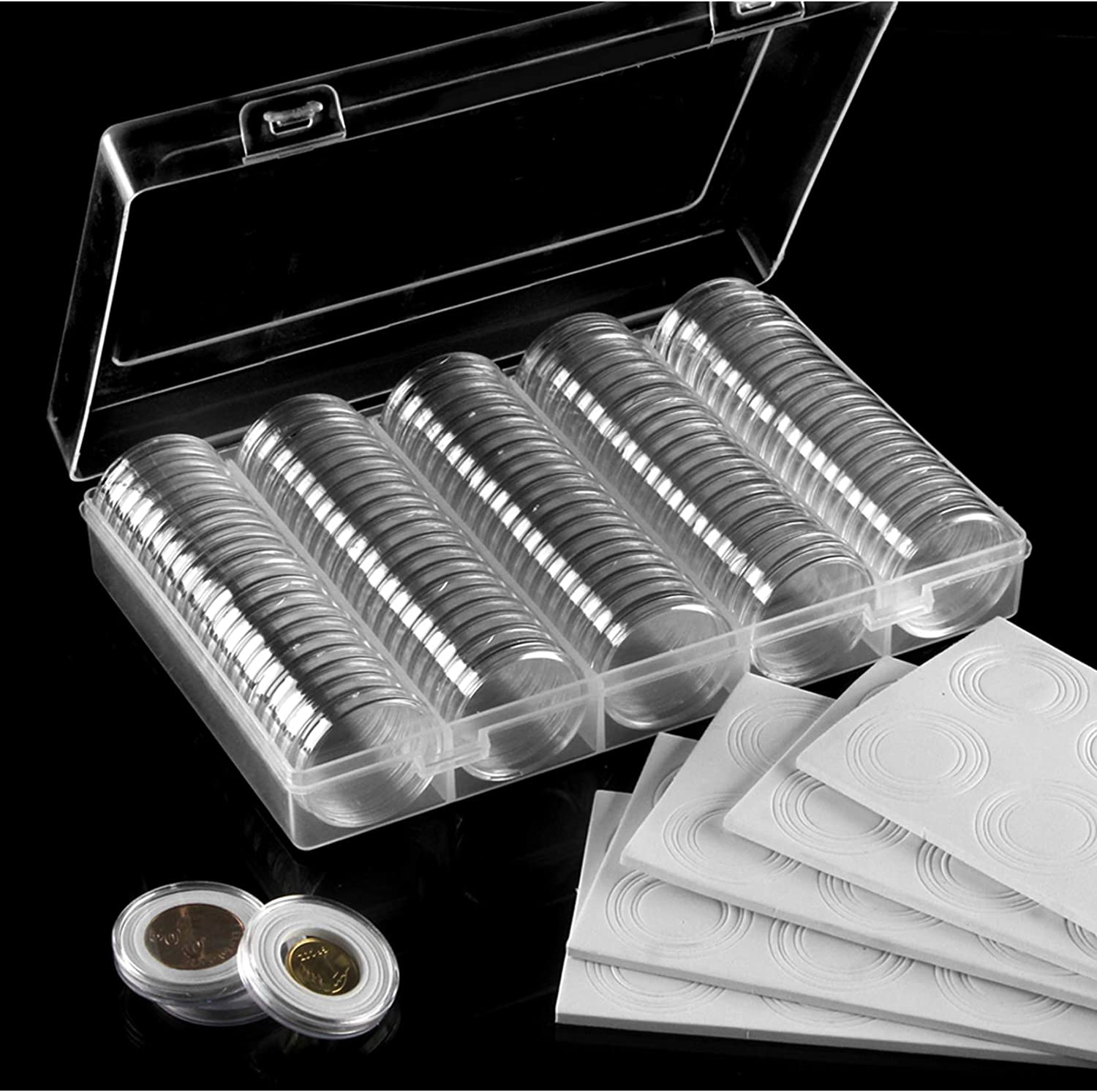 Foam Cushions with Clear Plastic Storage Organizer Box for Coin Collection Supplies 17//20//25//27//30 mm 100 Pieces 30mm Coin Holder Coin Capsules and 100Pcs 5 Sizes