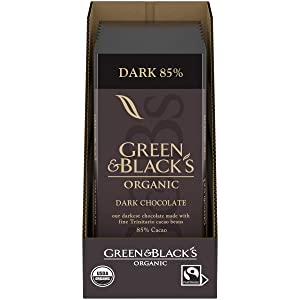 Green & Black's Organic Dark Chocolate Bar, 85% Cacao, Holiday Christmas Chocolate Gift, 10 - 3.17 oz Bars