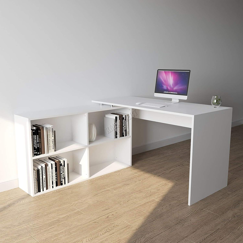 WestWood Morden L-Shape Computer Corner Desk With Shelf Home Office Study PC Table Workstation Gaming Furniture Large CD12 Black