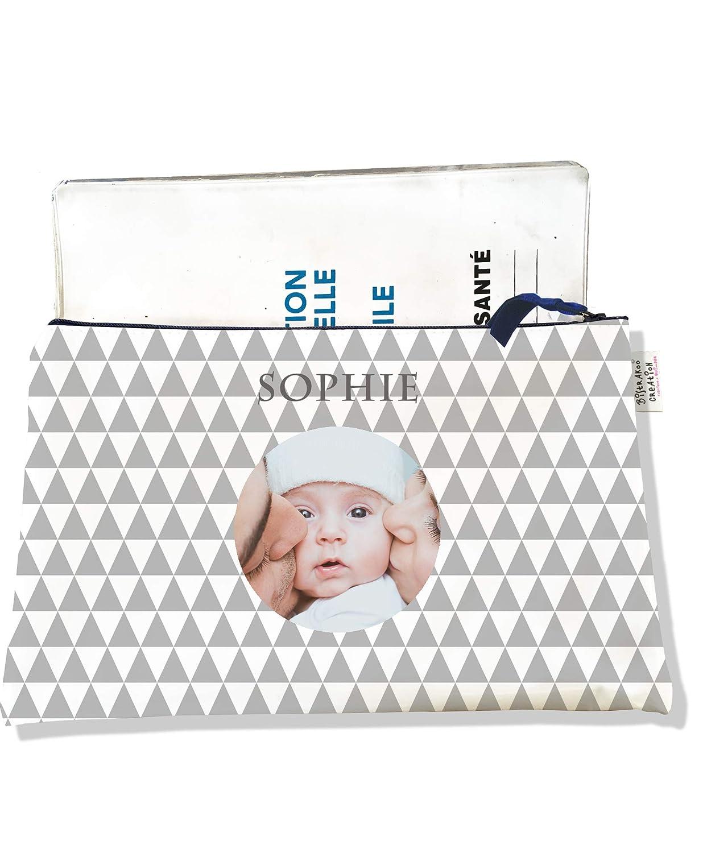 photo et texte de votre choix Prot/ège carnet de sant/é Personnalisable avec fermeture par zip pour b/éb/é fille Enfant PS2057-photo