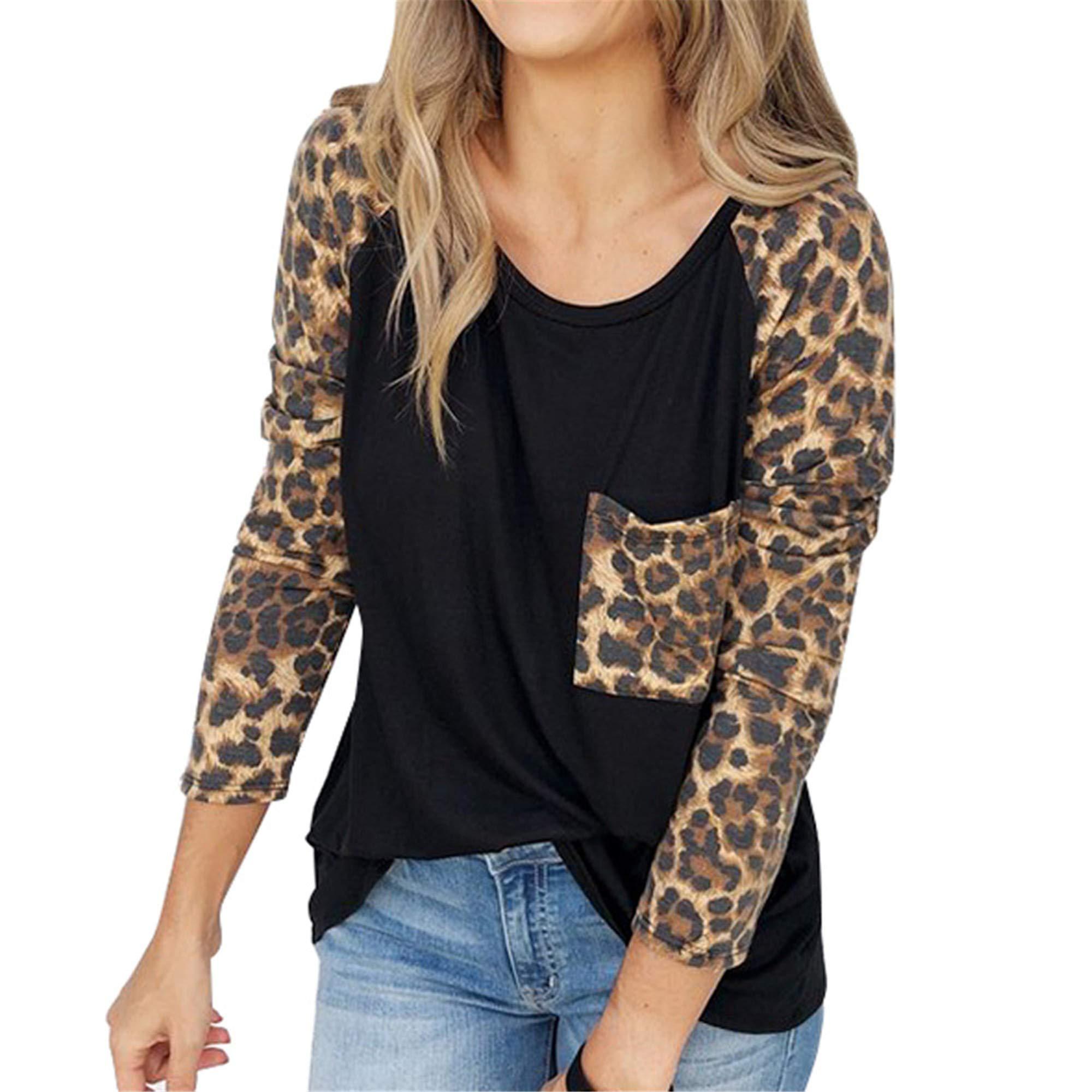 SMALLE ◕‿◕ Fashion in Women's Sweatshirt Leopard Printed Blouse Ladies Drop Shoulder T-Shirt Tops Shirt