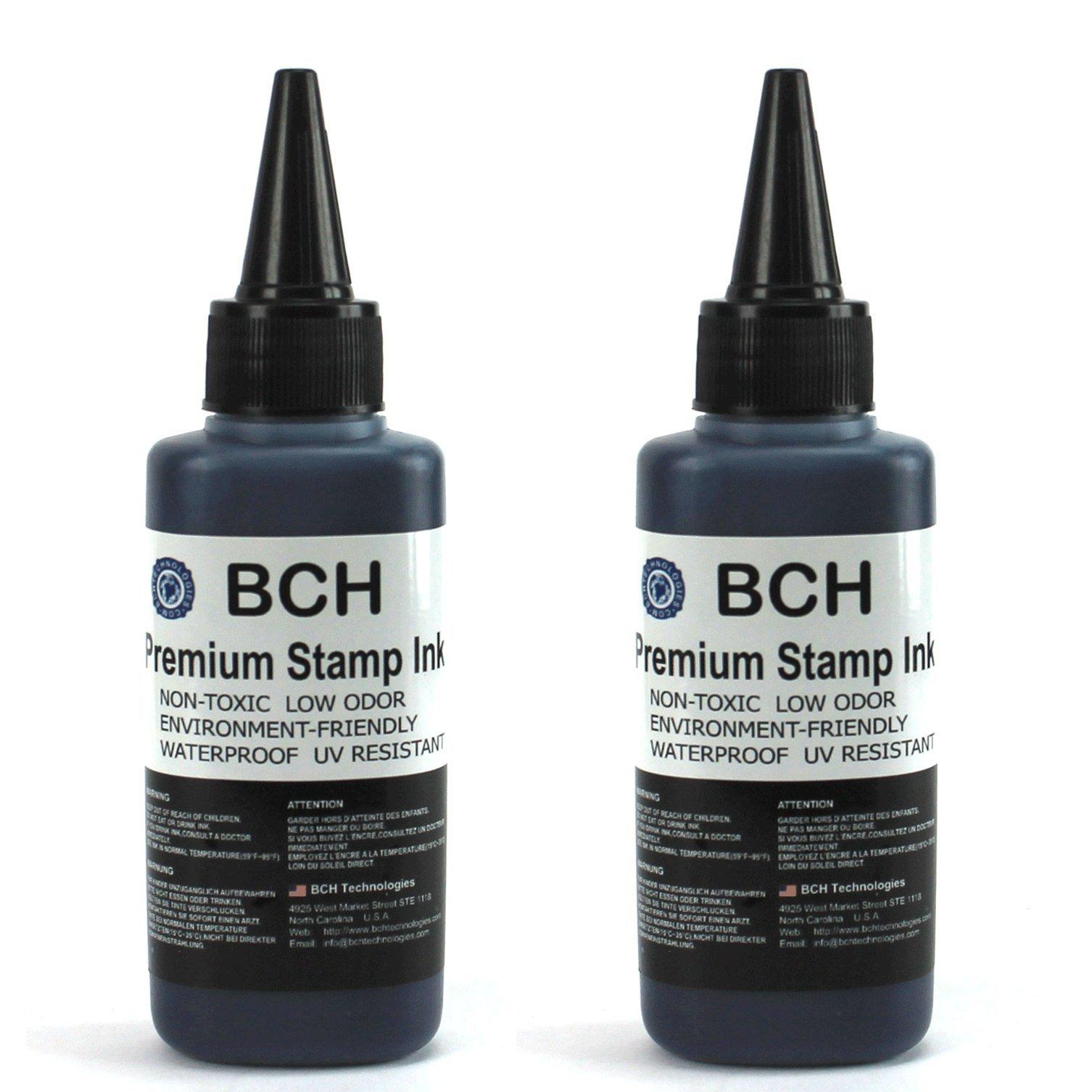 Bulk 2X Black Stamp Ink Refill by BCH - Premium Grade -2.5 oz (75 ml) Ink Per Bottle by BCH